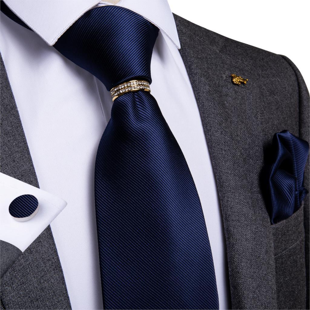 DiBanGu Blue Tie Necktie for Men Solid Silk Pocket Square Cufflinks Tie Clip Set