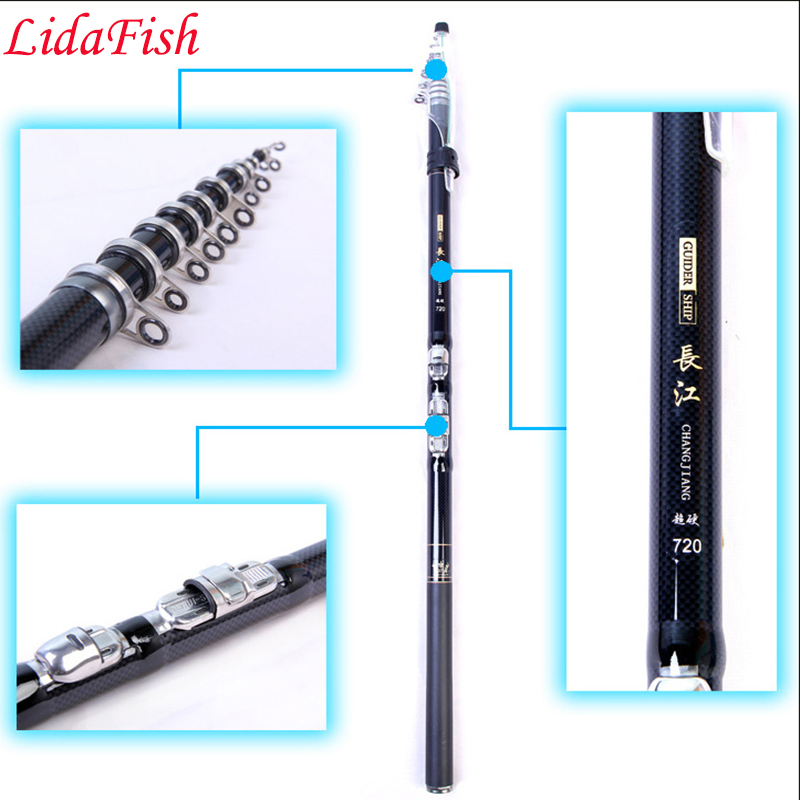 99% carbon fiber fishing rod 3.6 / 4.5 / 5.4 / 6.3 / 7.2m retractable ultra-light super-hard fishing pole free shipping
