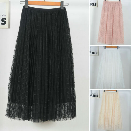 Summer Women Pleated Skirts 2019 New Casual Stretch High Waist Plaid Tulle