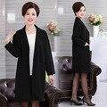 Длинные Пальто Для Женщин Весна Осень Мать Сплошной Цвет Трикотажные Пиджаки Плюс Размер женская Одежда Свободные Черное Пальто топы
