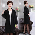 Long Trench Coat For Women Spring Autumn Mother Solid Color Knitted Outwear Plus Size Women's Clothing Loose Black Overcoat Tops