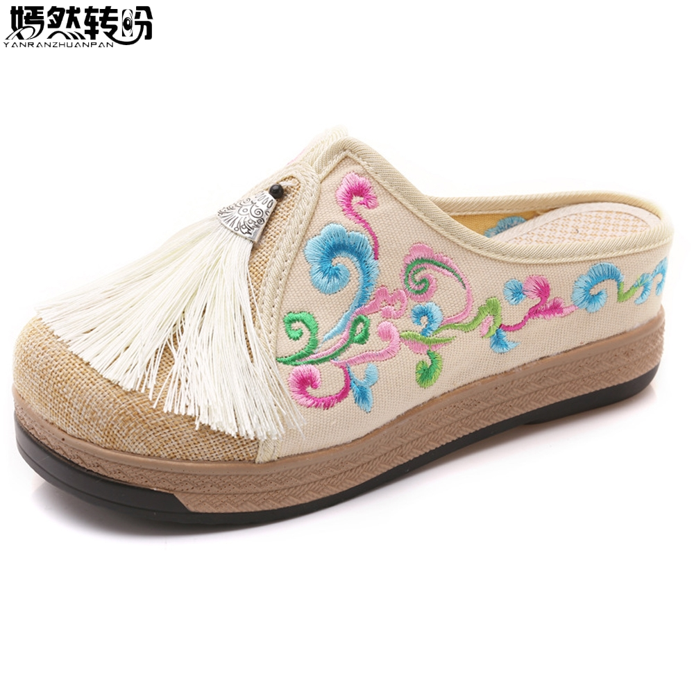 Women Slippers Chinese Casual Cloud Embroidery Linen Cotton Shoes Handmade Ladies Chinelo Canves Tassel Chanclas Mujer