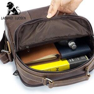 Image 4 - Laoshizi Olie Lederen Schoudertas Crossbag Mannelijke Lederen Tas Mannelijke Toevallige Grote Capaciteit Kleine Flap Handtas