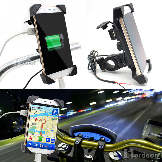 Universal Motorcycle Charger Handlebar Mount Phone Holder 12V USB Charger Bike Phone Charger Holder For Honda Yamaha Kawasaki