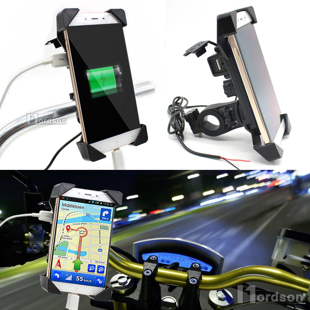 Prix pour Universel Moto Chargeur Guidon Mont Téléphone Titulaire 12 V USB Chargeur Vélo Téléphone Chargeur Support Pour Honda Yamaha Kawasaki