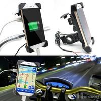 Universal Motorcycle Bike Handlebar Rail Mount Phone Holder USB Charger Cell Phone Holder For Honda Yamaha