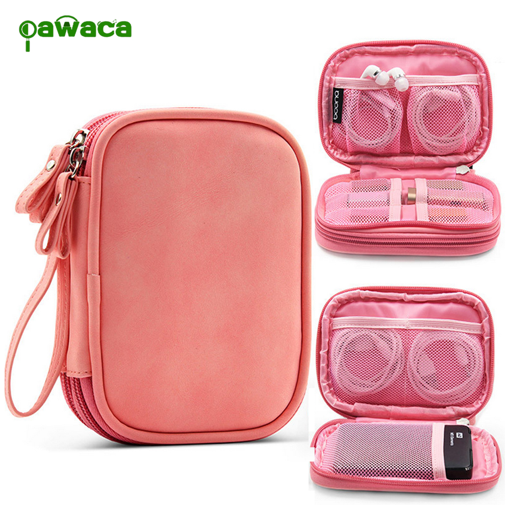 Portable Digital Gadget Devices Storage Bag PU USB Earphone Cable Mobile Power Pack Orga ...