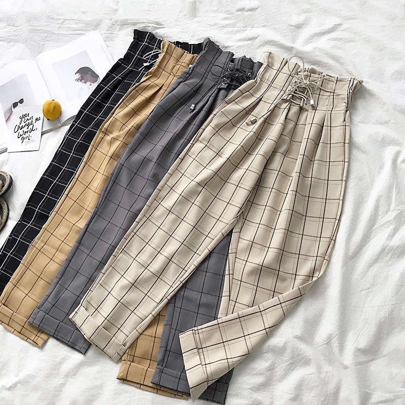 2019 Female Trousers Harajuku Casual Pants Women Lace Up High Waist Harem Pants Spring Streetwear High Waist Plaid Pants Female