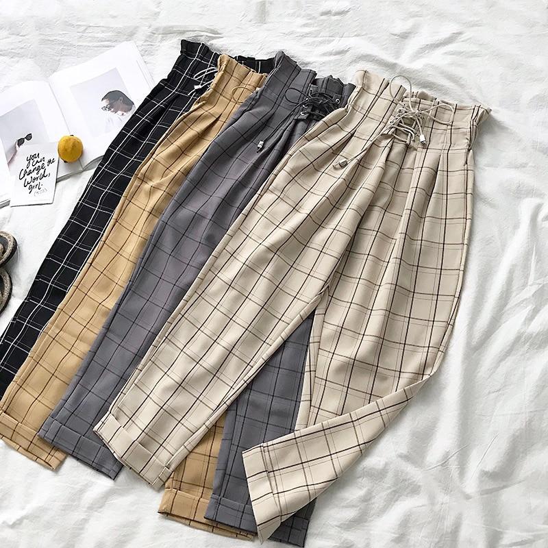 2019 Female Trousers Harajuku Casual Pants Women Lace Up High Waist Harem Pants Spring Streetwear High Waist Plaid Pants Female