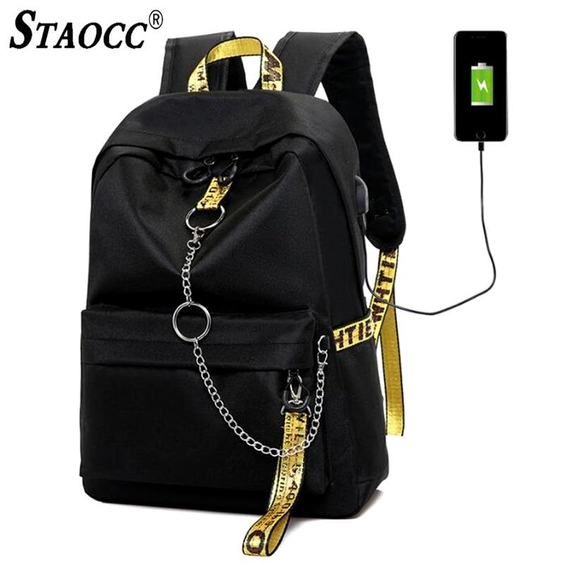Student Backpack Book-Bags Travel Laptop Anti-Theft Teenage Girls Waterproof Mochila-Chain