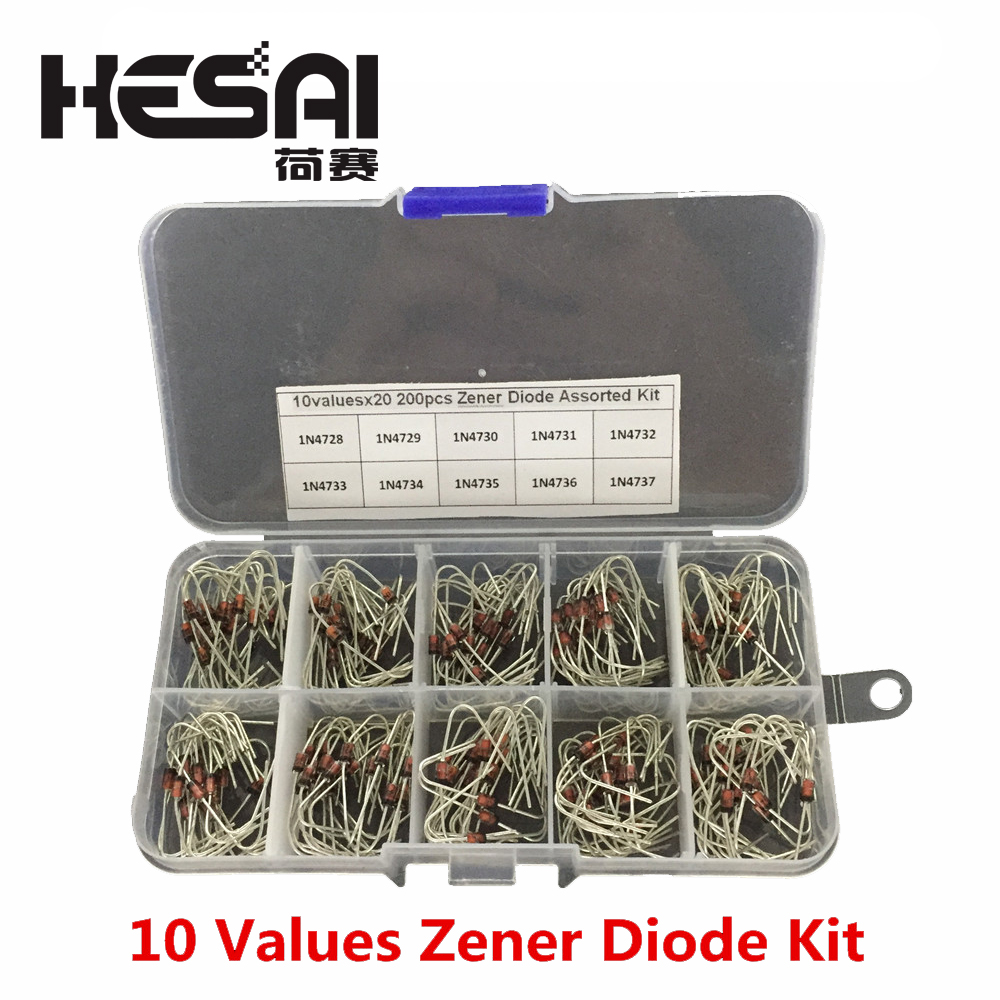 10Values Zener Diode Electronic Diode 1N4728 1N4729 1N4730 1N4731 1N4732 1N4733 1N4734 1N4735 1N4736 1N4737 with Storage Box Zener Diodes 200pcs