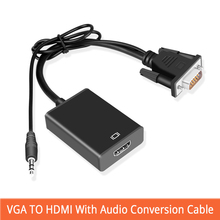 Vga zu hdmi с аудио кабель преобразования адаптер vga hdmi с USB питание для ноутбука от ПК к ТВ проектор дисплей монитор