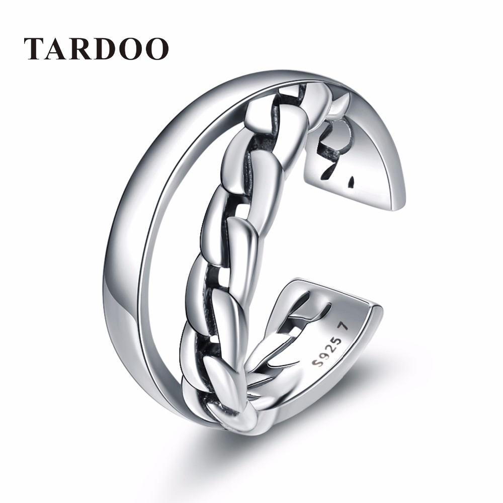 Tardoo Popular Cute Mouth Shape Double Layers 925 Sterling Silver Cuff Adjustable Rings for Women Fine