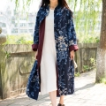 JN054 Spring 2016 vintage Chinese Style navy blue floral cotton and linen long maxi loose plus size trench coat for women