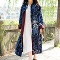 Jn054 primavera 2016 vintage marino estilo chino azul de algodón y lino floral largo maxi loose plus size trench coat para mujeres