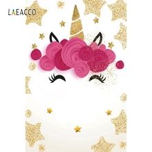 Laeacco Golden Stars Unicorn Baby Party Wallpapers Photography Backgrounds Customized Photographic Backdrops For Photo Studio
