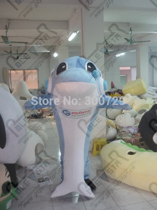 export high quality Personality of blue/pink dolphin mascot costume/adult size can be customized white belly dolphin mascot cost