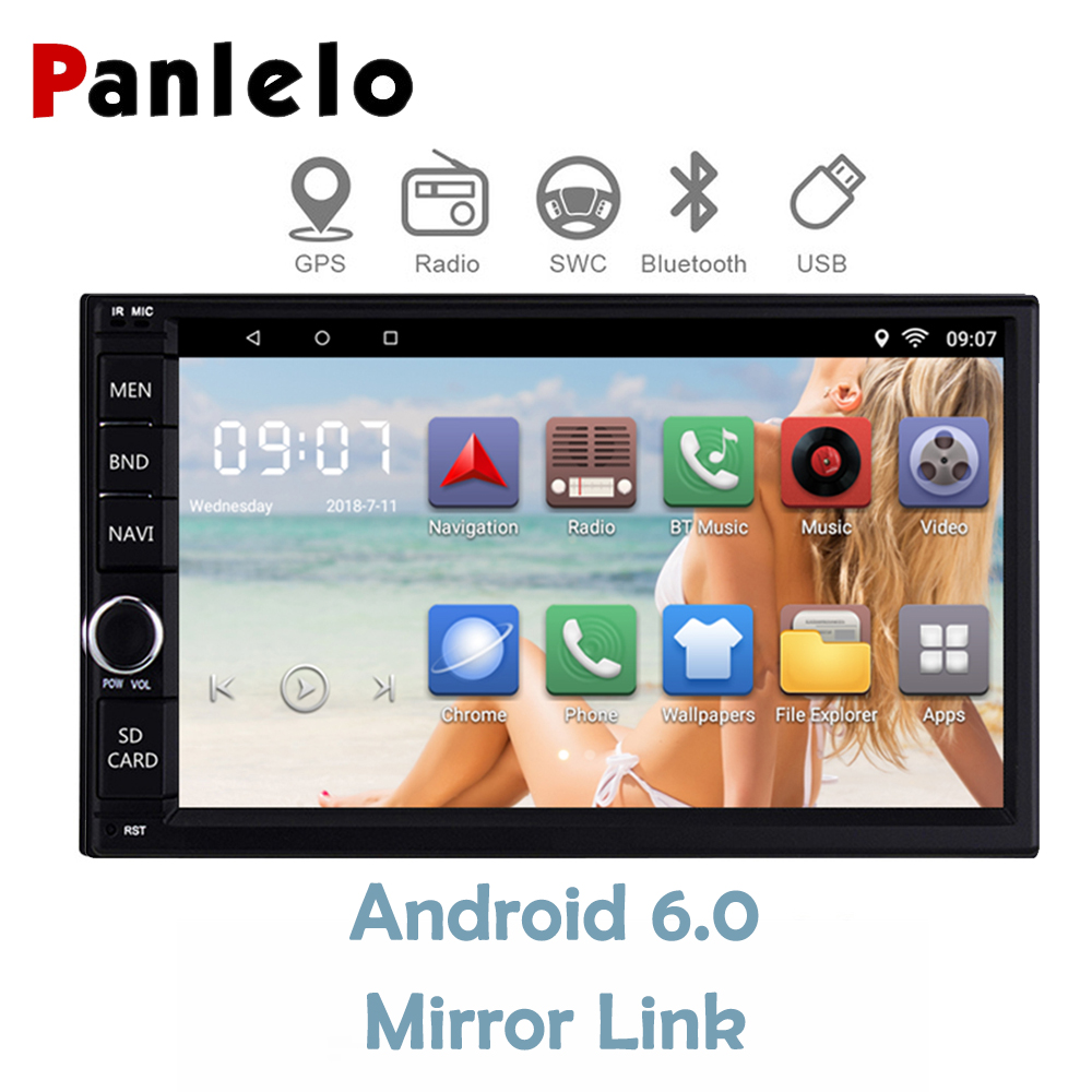 2 Din Car Radio GPS Android Quad Core 6.0 1GB+16GB Head Unit 7'' Touch Screen Bluetooth Wifi AM/FM/RDS Car Multimedia Player joyous j 2611mx 7 touch screen double din car dvd player w gps ipod bluetooth fm am radio rds
