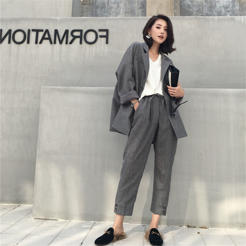 Suit Female 2019 Spring And Autumn New Professional OL Long-sleeved Suit Trousers Two-piece Temperament Loose Women's Clothes