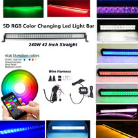 Honzdda 42 5D 240W RGB LED Light Bar Spot Combo Lamp Bluetooth App & Wiring Harness Control Color Changing Led Warning Light