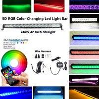 Honzdda 42 5D 240W RGB LED Light Bar Spot Combo Lamp Bluetooth App & Wiring Harness Control Color Changing Led Warning Light