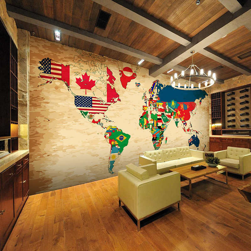 Retro World Countries Flags Map Large 3D Room Wallpaper