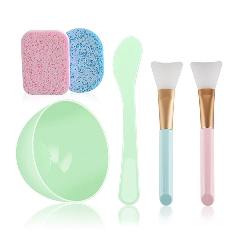 6PC/Set DIY Face Mask Tools Makeup Beauty Brush Spoon Stick Bowl Spray Professional Makeup Brush Cosmetics Silicone Bowl