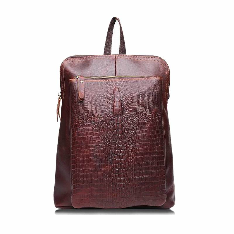ФОТО 100% Genuine Leather Bag Crocodile Bolsas Femininas Vintage Style Men Bag Women Backpack Female Bags Men Travel Bag bolsa viagem