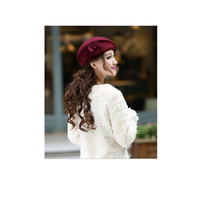 Beret Beanie Flower French Trilby Wool Soft Stewardess Hat