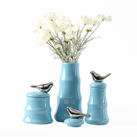Nordic decorative storage jar ornaments home furnishings simple ceramic bird flower vase ornaments living room home accessories
