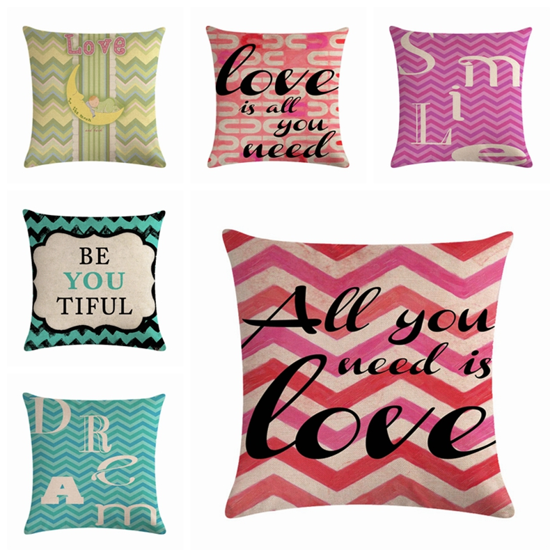 Efaster Love Letter Printing Home Sofa Car Linen Valentines Day Pillowcase