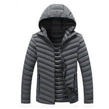 2017 Men's Winter Hoodies Quilted Jacket New Fashion Warm Cotton Solid Color Padded Hooded Men Parkas Coat
