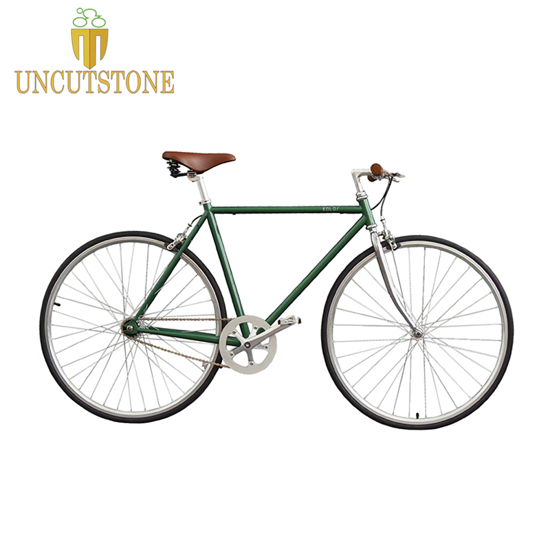 Vintage Road Bike Retro Steel Frame Green Track Single Speed Bike 52cm Fixie Bike 700C Single Speed Bicycle
