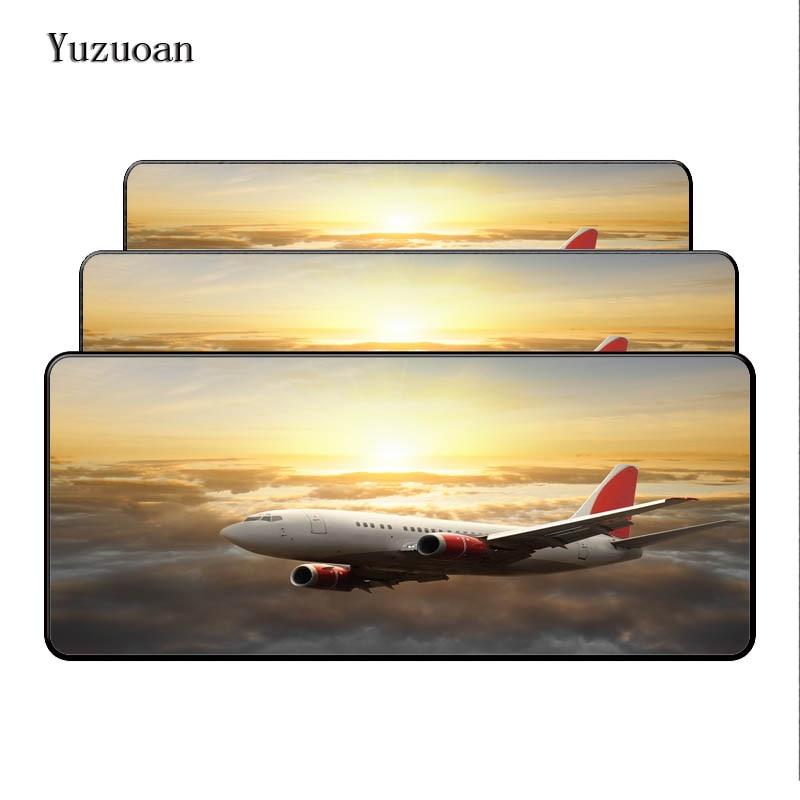Yuzuoan 90*40 см самолет Fly путешествия красивые Notbook компьютера большой Мышь pad игровой ноутбук Настольный коврик оверлок подарок мышь Pad ...