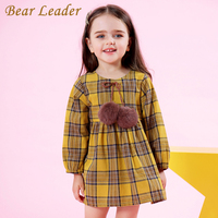 Bear Leader Girls Dress 2017 New Autumn Brand Girls Clothes Classical Plaid Fur Ball Bow Design