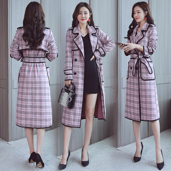 Office Lady Plaid Trench Coat For Women Windbreaker Korean Spring Autumn Coat Women OL Overcoat Double Breasted Windbreakers