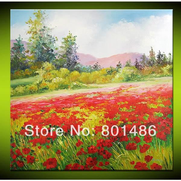 100 handmade red poppies flowers field painting landscape on canvas 100 handmade red poppies flowers field painting landscape on canvas for modern art home decoration mightylinksfo