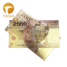 Banknotes 10pcs Antique Plated Commemorative Notes Collection 24K Gold Banknote Chile 2000 Pesos