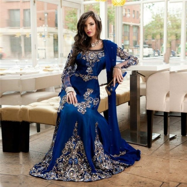 Chiffon Dubai Winter Formal Dress Royal Blue Beaded Scoop Neck Long