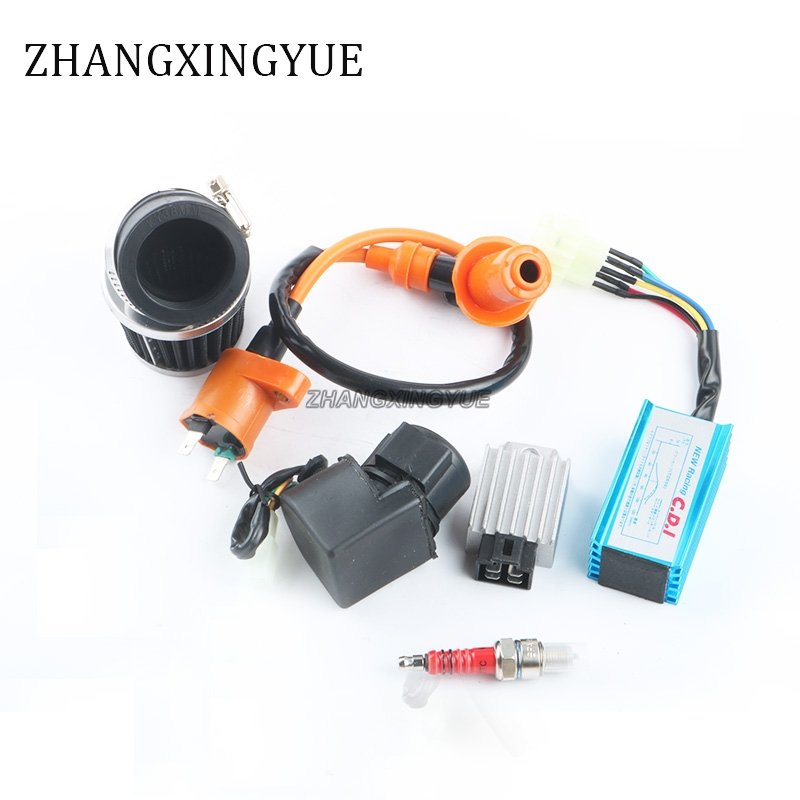High Performance Coil CDI + Modified 38mm Air Filter + Regulator + Flasher + Spark Plug 139QMB GY6 50cc Scooter ATV Kart