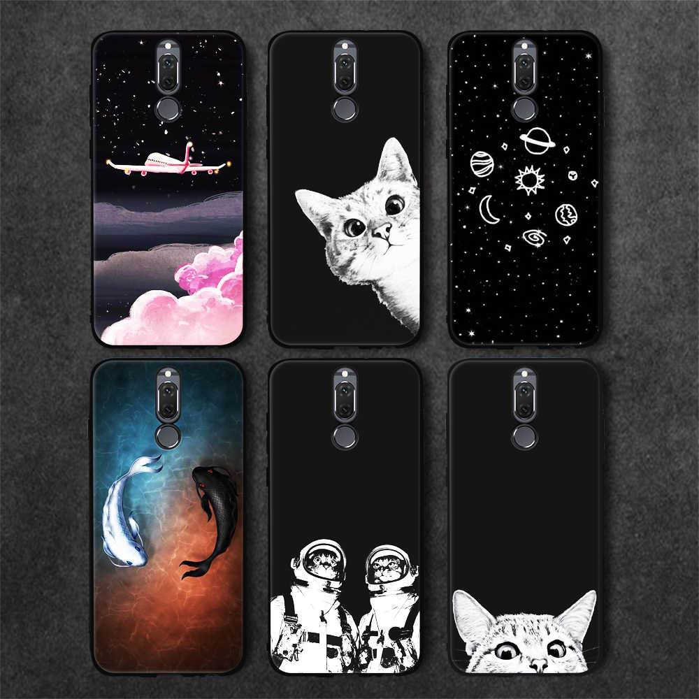 Black TPU Phone Case For Huawei P20 P10 Pro Mate 10 Lite P8 P9 Lite 2017 2016 For Honor 8 9 Lite Y9 2018 Enjoy 8 Plus Cats Cover