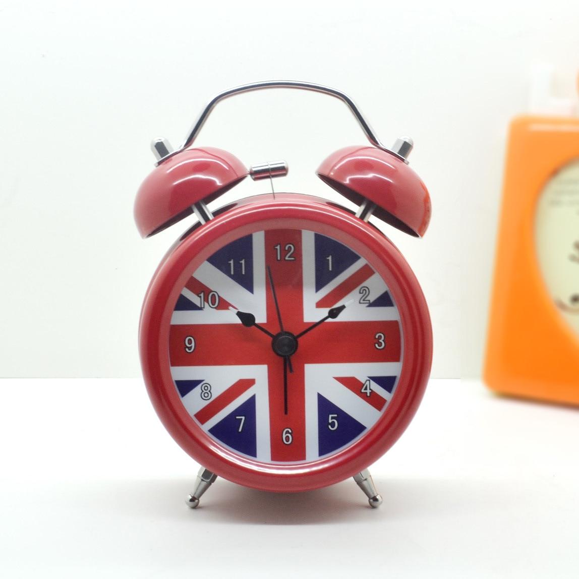 Alarm Clock Vintage Retro Silent Pointer Clocks Round Number Dual Bell Loud Alarm Clock Bedside Night Light Home Decors