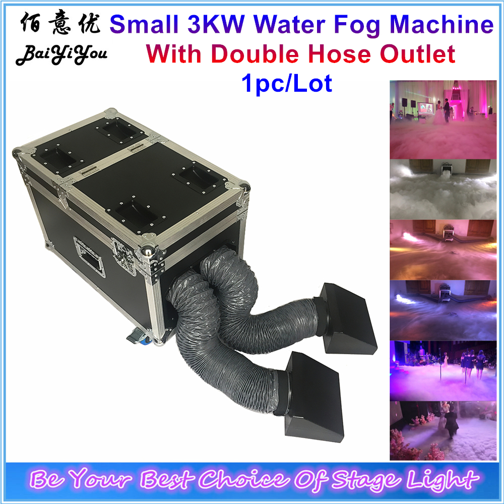 1x New 3000W Double Outlet Water Fog Machine 3KW Water Base Low Ground Fog Smoke Machine