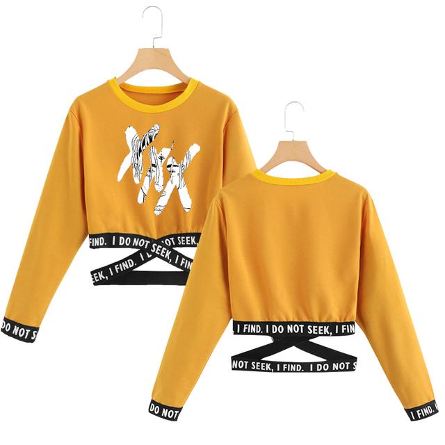 Frdun Tommy XXX Tentation 2019 nuevo diseño mujeres sudaderas sin capucha Venta caliente mujeres verano sudadera K-pops Crop Top ropa XXL