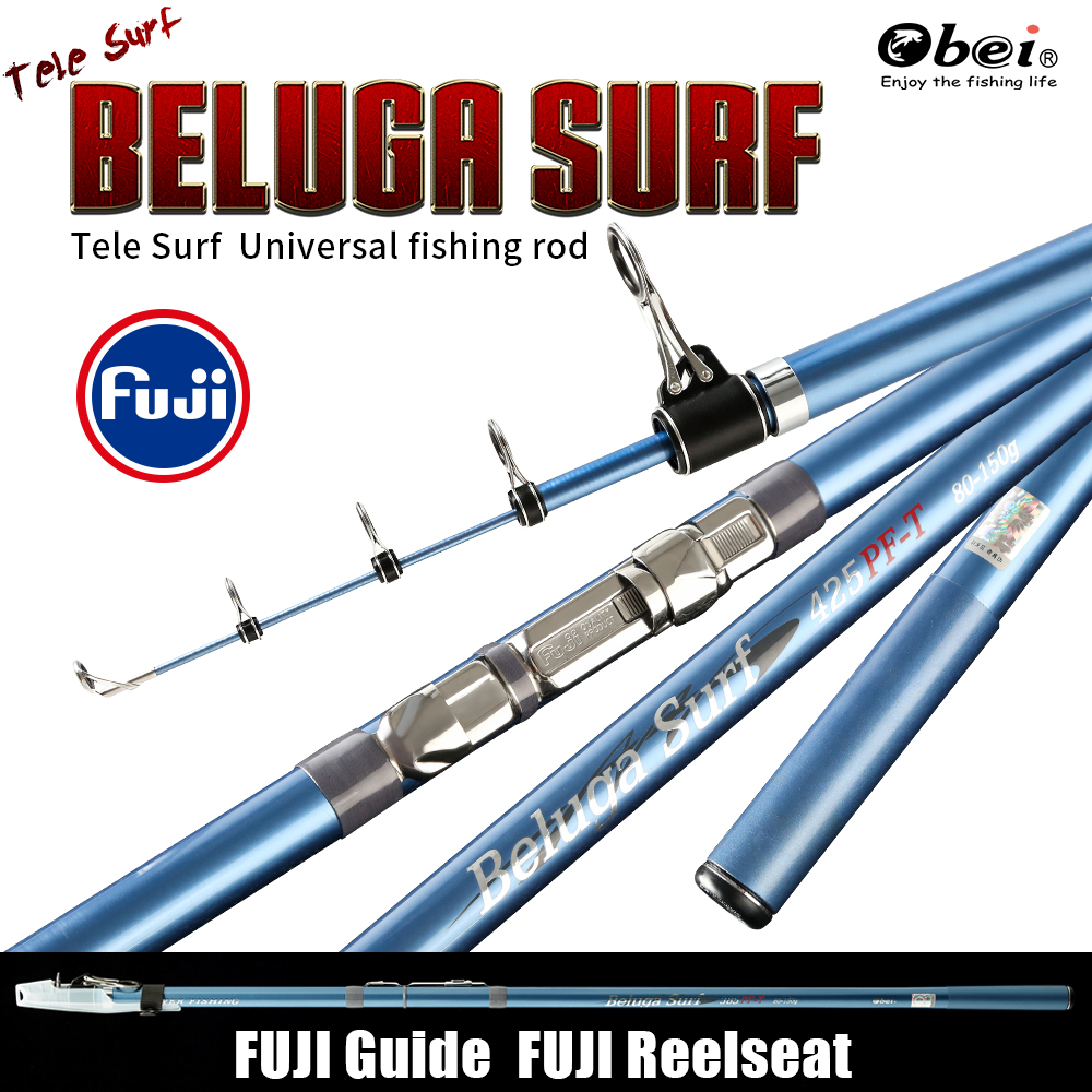 Obei surfcasting distancia a tele surf de largo fuerte fundido de alta calidad fuji componentes de carbono caña de pescar telescópica