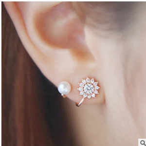 2016 New Fashion Exquisite  Snowflake Earrings Sweet High Temperament Imitation Pearl Bridal Jewelry Wholesale
