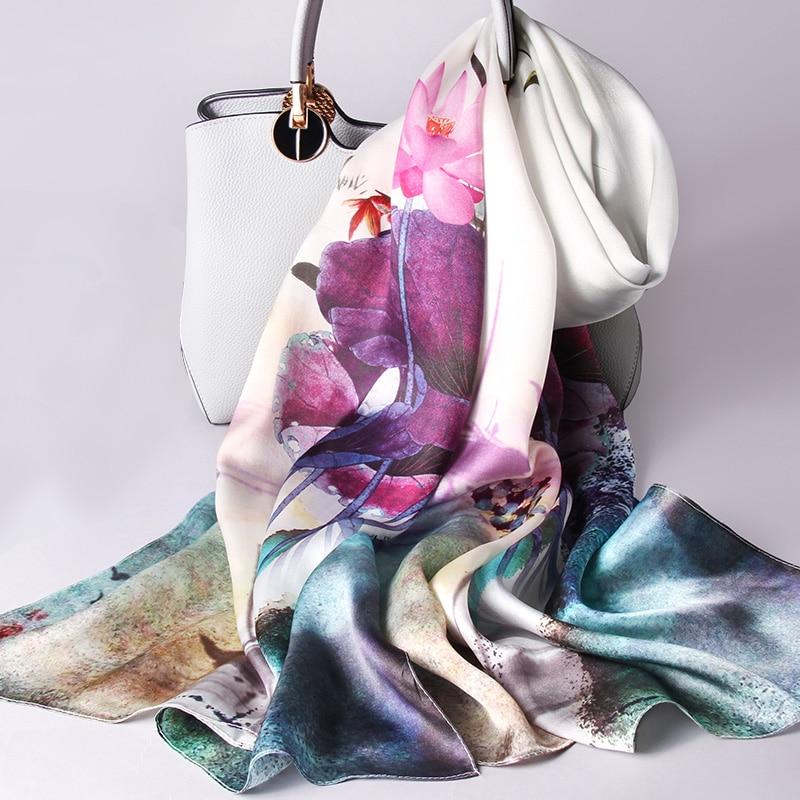 100% Real Silk Scarf Women 2019 Luxury Silk Shawls and Wraps for Ladies Vintage Hangzhou Silk Neckerchief Long Pure Silk Scarves