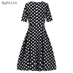 ROPALIA Summer Polka Dot Vintage Dress Elegant Women Short Sleeve Work Office Casual Party A Lin Dresses Vestido T7 10