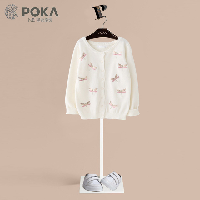 b3ad9d769912 POKA Spring Children Girl Clothes Kids Knitted Cotton Sweaters with ...