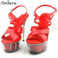 Sorbern Women Summer Sandals Shoes Plus Size 15CM Transparent Spike Heels Fashion Ladies Party Shoes New